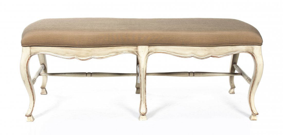 51: A Louis XV Style Upholstered Bench, Width 48 1/2 in