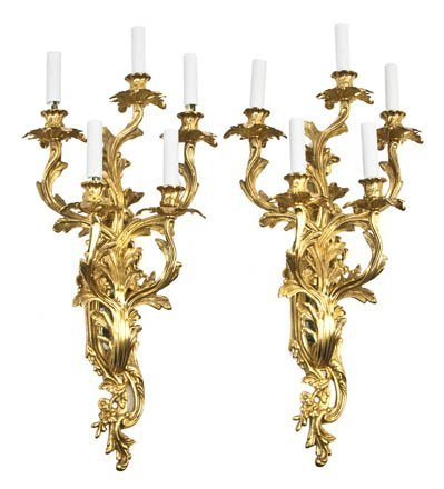 52: A Pair of Louis XV Style Gilt Bronze Five-Light Sco