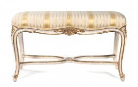 A Louis XV Style Parcel Gilt Painted Window Bench,