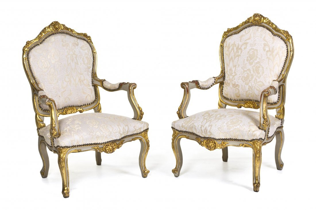 57: A Pair of Louis XV Style Painted and Parcel Gilt Fa