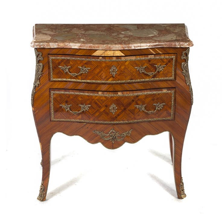 58: A Louis XV Style Parquetry and Gilt Metal Mounted C