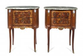 A Pair Of Louis XV Style Marquetry And Jasperware I
