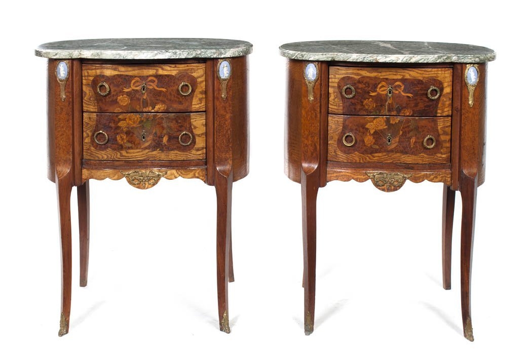 59: A Pair of Louis XV Style Marquetry and Jasperware I