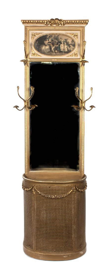 61: A French Giltwood Hall Tree, Height 89 3/4 x width