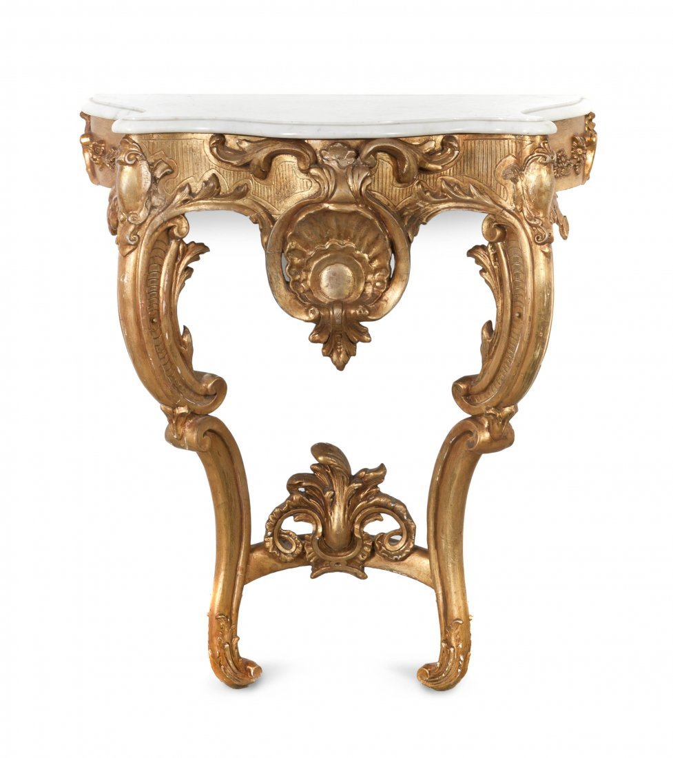 64: A Louis XV Style Giltwood Console Table, Height 31