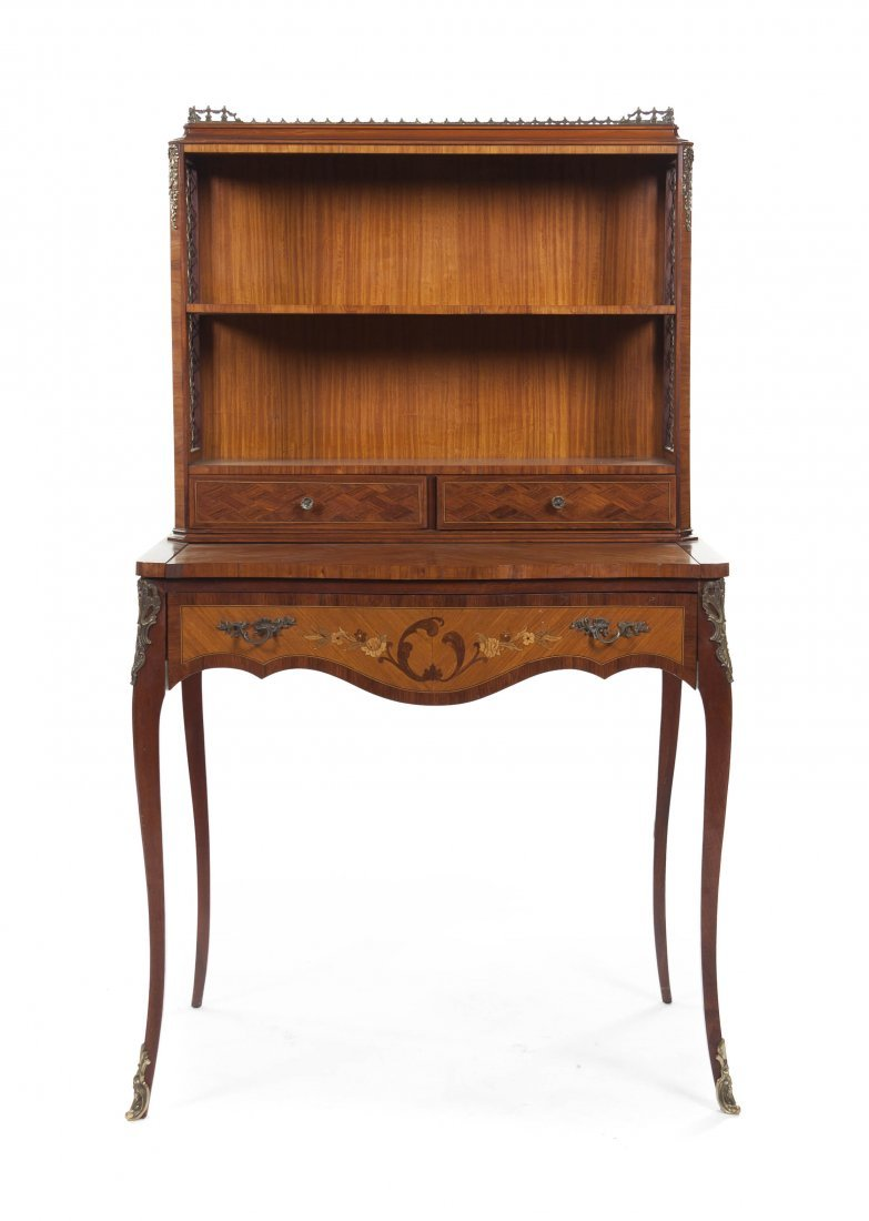 67: A Louis XV Style Satinwood, Parquetry and Marquetry