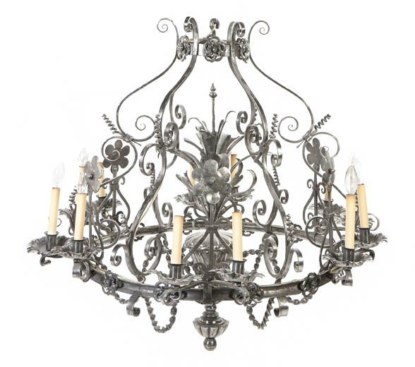 68: A French Pewter Twelve-Light Chandelier, Height 35