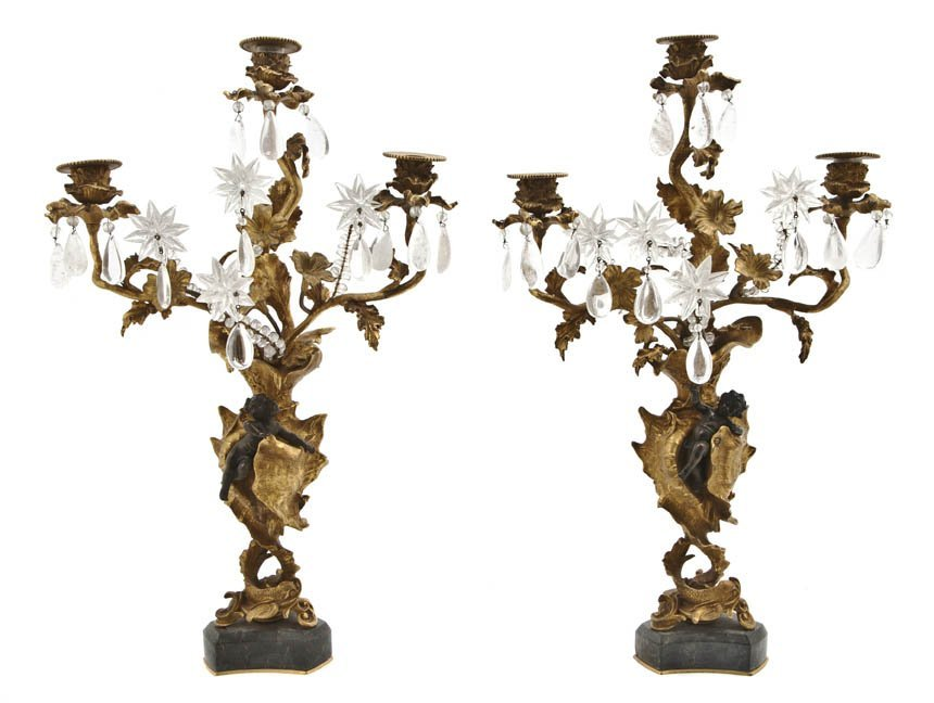 72: A Pair of Louis XV Style Gilt and Patinated Bronze