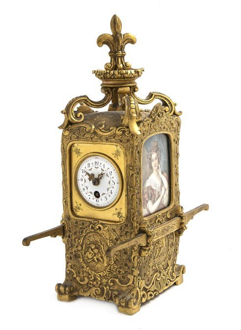 73: A French Gilt Bronze Table Clock, Height 11 1/4 inc