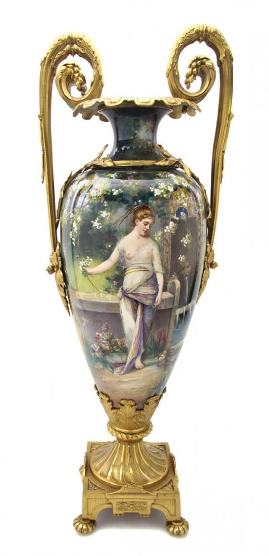 75: A Continental Gilt Bronze Mounted Vase, Height 32 3