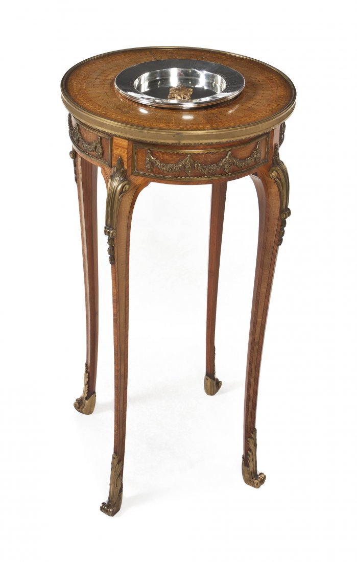78: A French Silver, Parquetry and Gilt Bronze Mounted