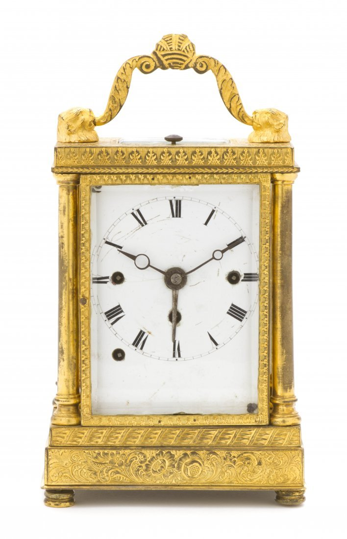 79: A Continental Gilt Bronze Carriage Clock, Height 5