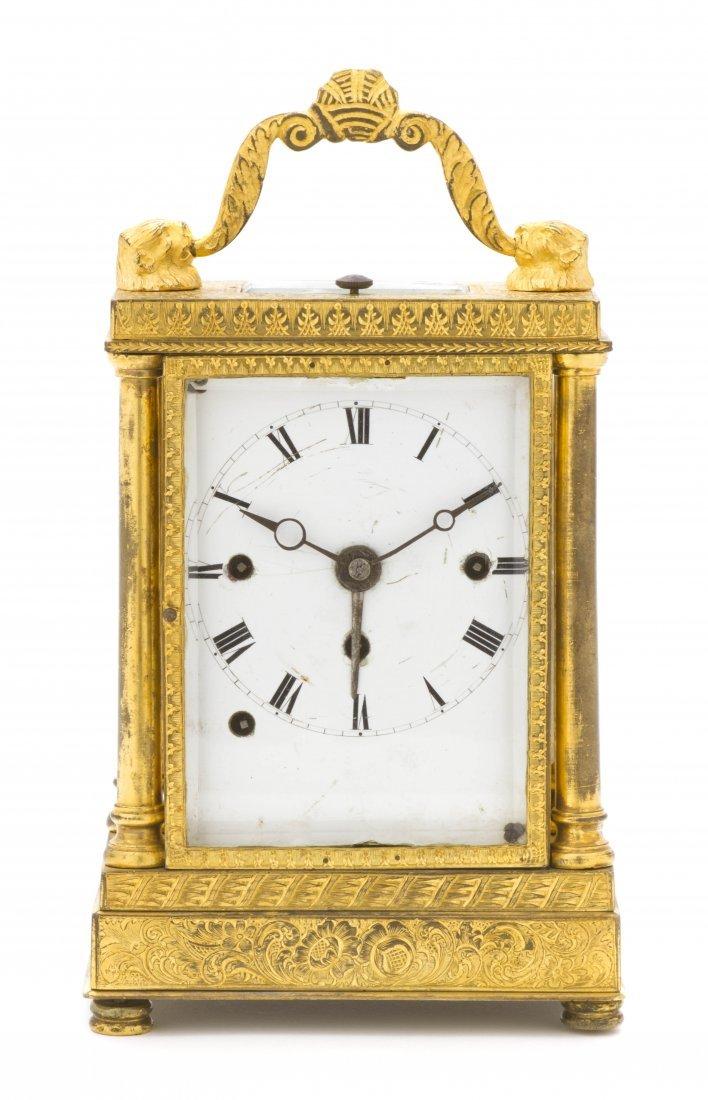 79: A Continental Gilt Bronze Carriage Clock, Height 5