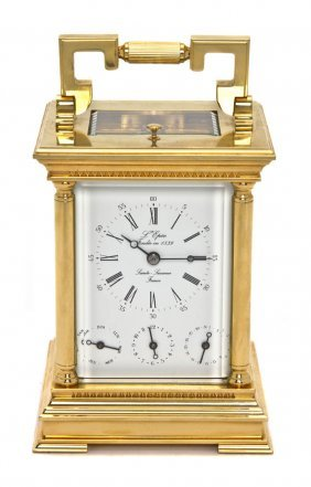 80: A French Brass Carriage Clock, L'Epee, Height 6 1/8