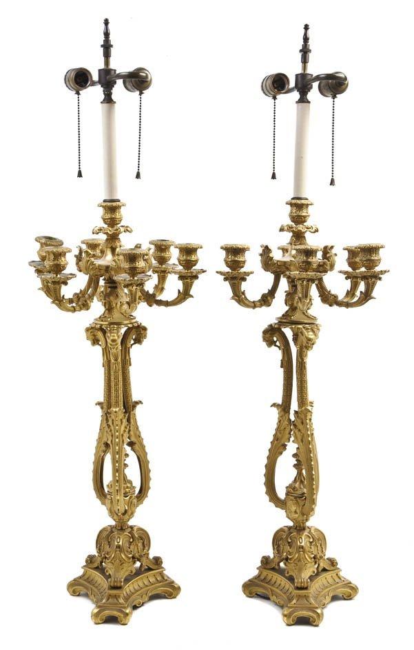 81: A Pair of Continental Gilt Bronze Seven-Light Cande