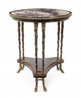 A Louis XVI Style Gilt Bronze And Marble Gueridon,