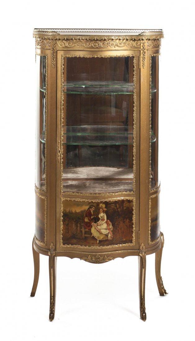 88: A Louis XVI Style Gilt Metal and Vernis Martin Deco