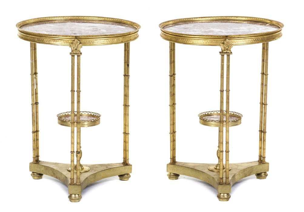 90: A Pair of Louis XVI Style Gilt Bronze and Marble In