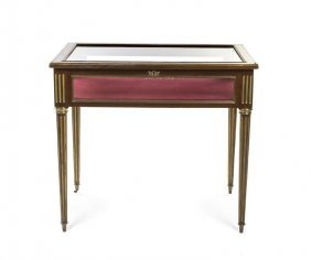 A Louis XVI Style Brass Inlaid Vitrine Table, Heigh