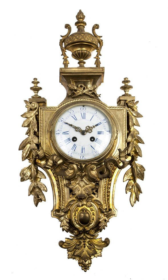 93: A Louis XVI Style Gilt Bronze Cartel Clock, Height