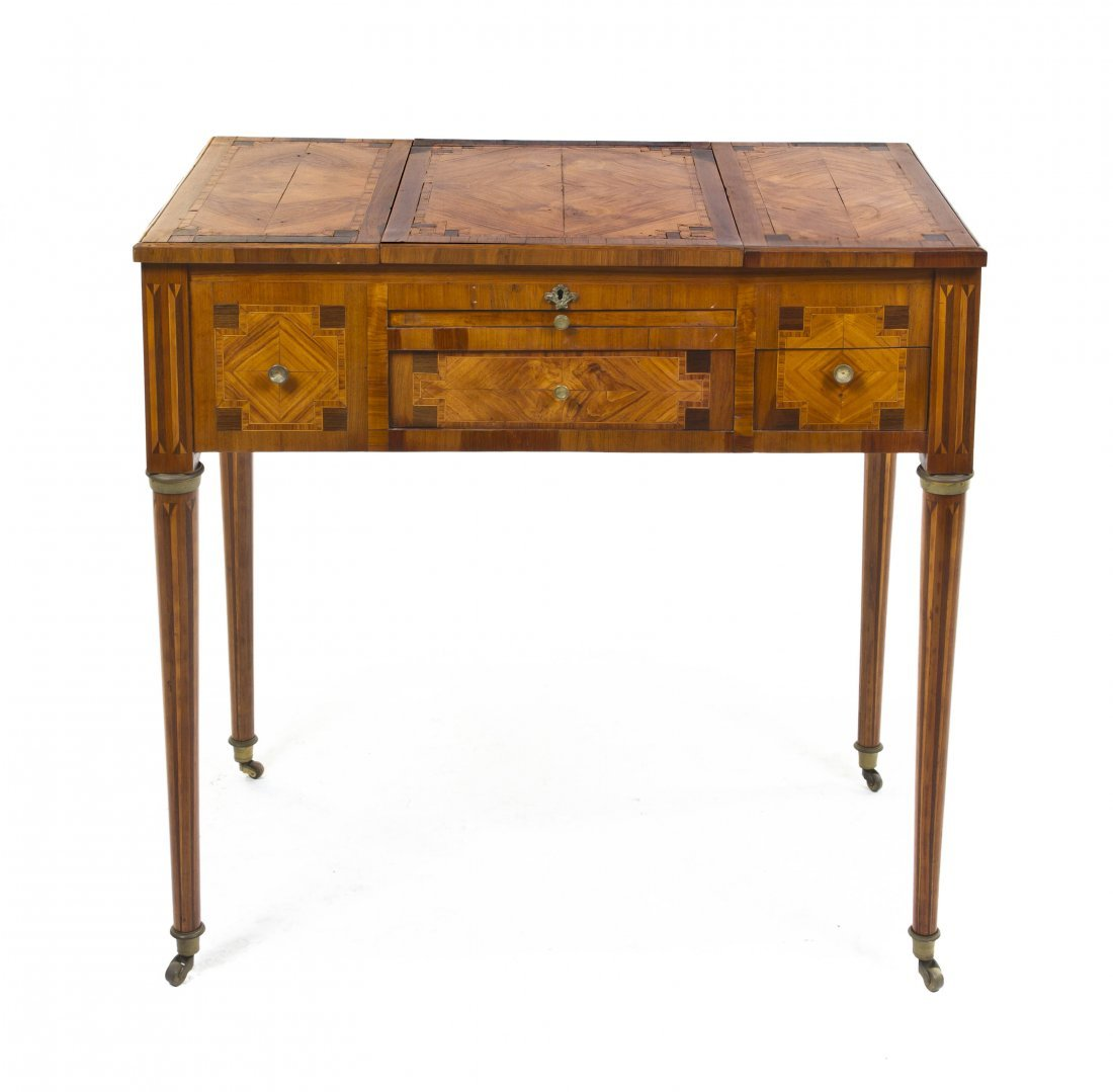 95: A Louis XVI Fruitwood, Tulipwood and Marquetry Poud