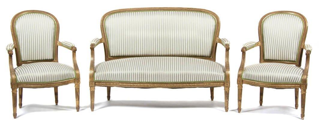 96: A Louis XVI Style Giltwood Parlor Suite, Francois L