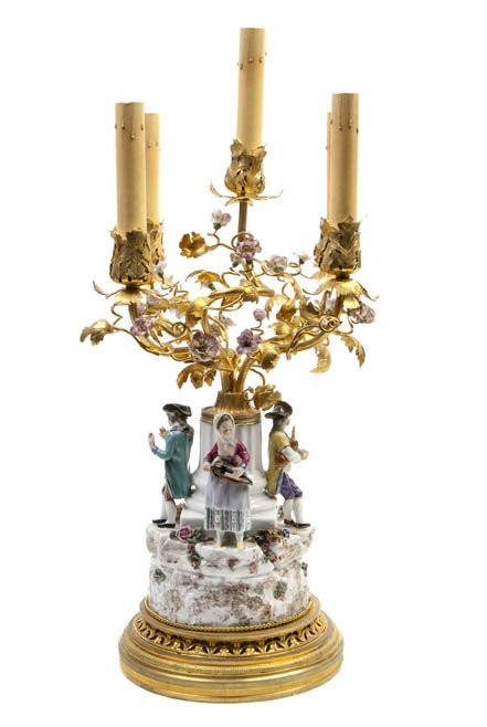 97: A French Gilt Bronze and Porcelain Mounted Five-Lig