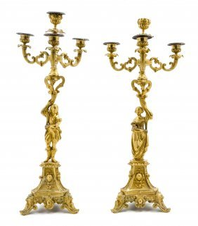 A Pair Of French Gilt Bronze Four-Light Figural Can