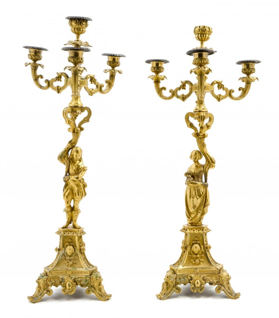 98: A Pair of French Gilt Bronze Four-Light Figural Can