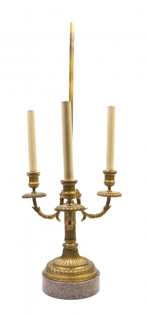100: A Louis XVI Style Gilt Bronze Three-Light Bouillot