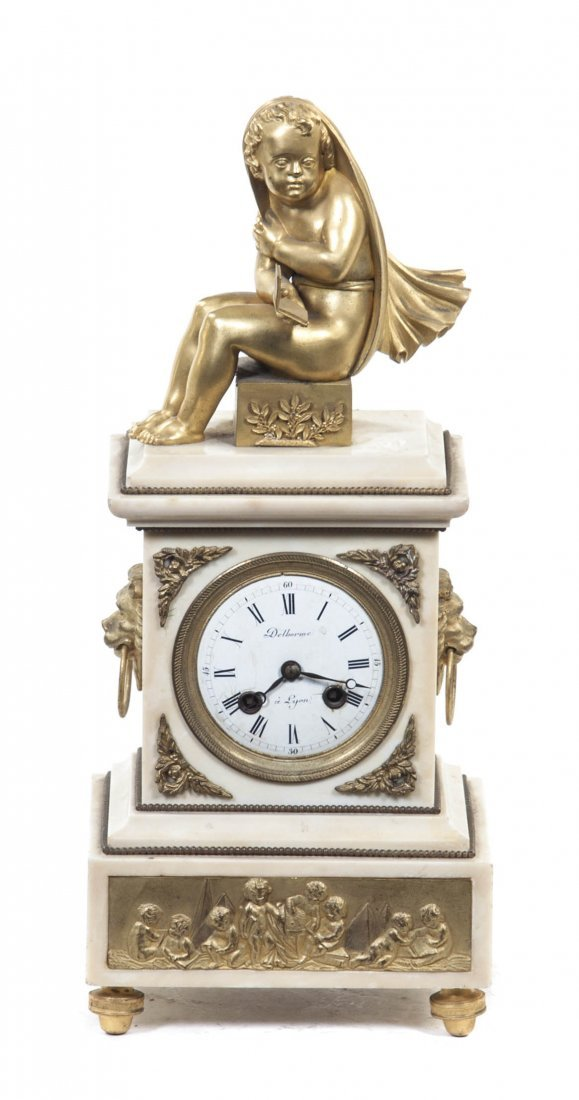 101: A French Gilt Bronze and Alabaster Figural Mantel