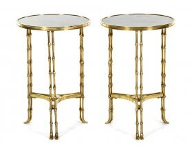 A Pair Of Louis XVI Style Gilt Bronze Gueridons, H