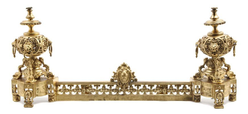 105: A Pair of Louis XVI Style Gilt Metal Chenets, Widt