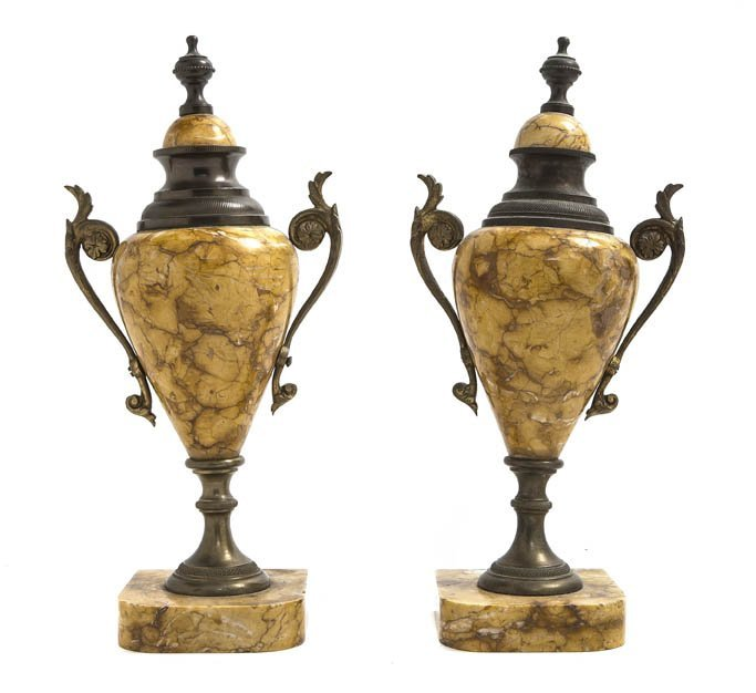 106: A Pair of Gilt Metal Mounted Sienna Marble Urns, H