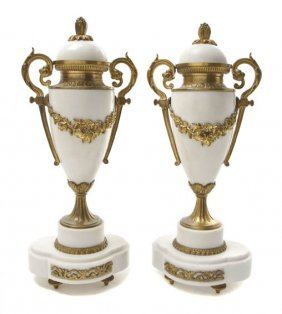 A Pair Of French Alabaster And Gilt Metal Mounted