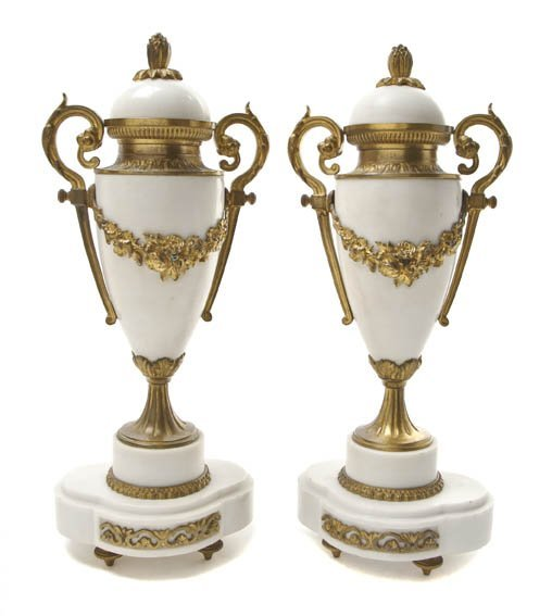 107: A Pair of French Alabaster and Gilt Metal Mounted