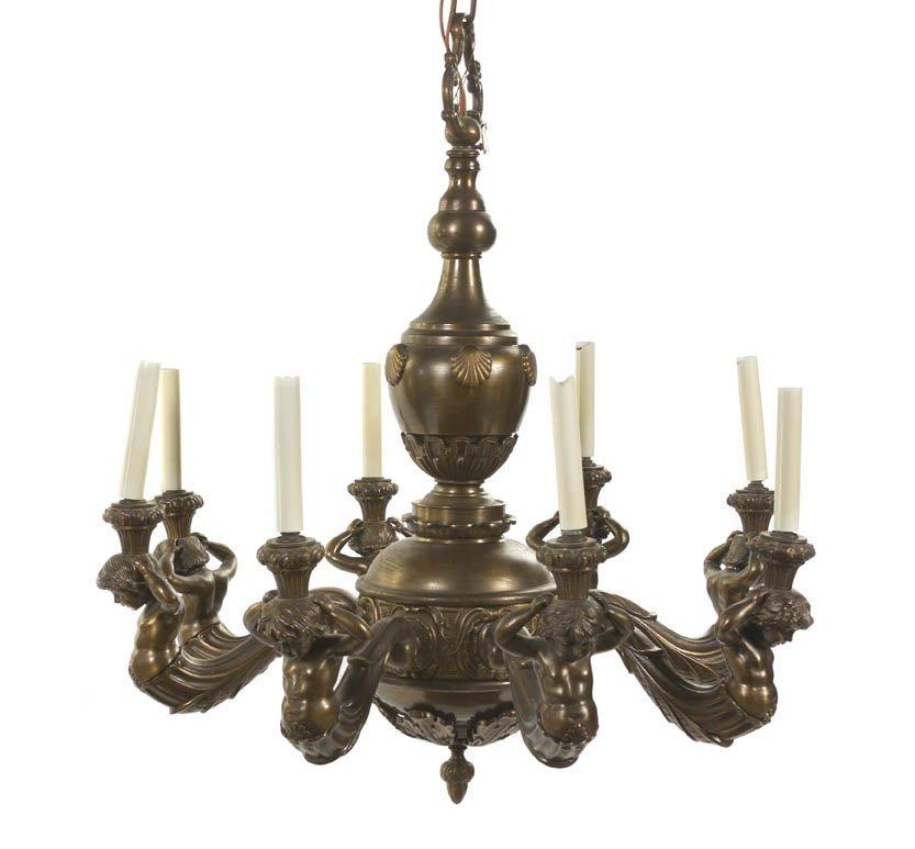 109: A Louis XVI Style Gilt Bronze Eight-Light Chandeli