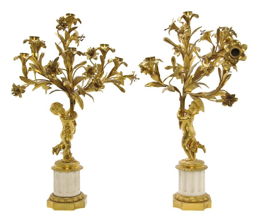 113: A Pair of French Gilt Bronze Figural Candelabra, H