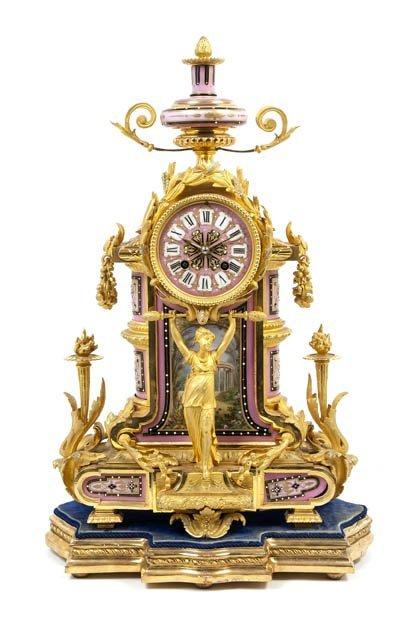 114: A Louis XVI Style Gilt Bronze and Sevres Style Por