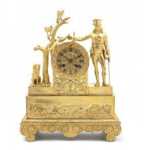 A French Gilt Bronze Figural Mantel Clock, Height