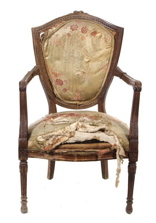 118: A Louis XVI Style Shield Back Fauteuil, Height 39