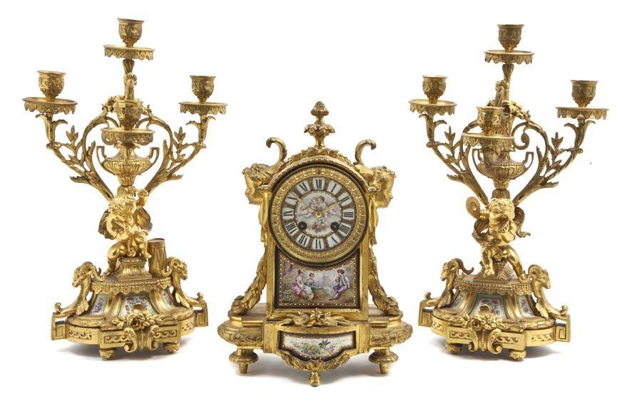 122: An Assembled French Gilt Bronze and Porcelain Moun