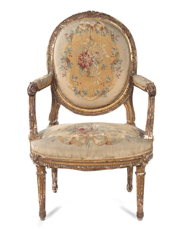 123: A Louis XVI Style Giltwood Fauteuil, Height 39 1/4