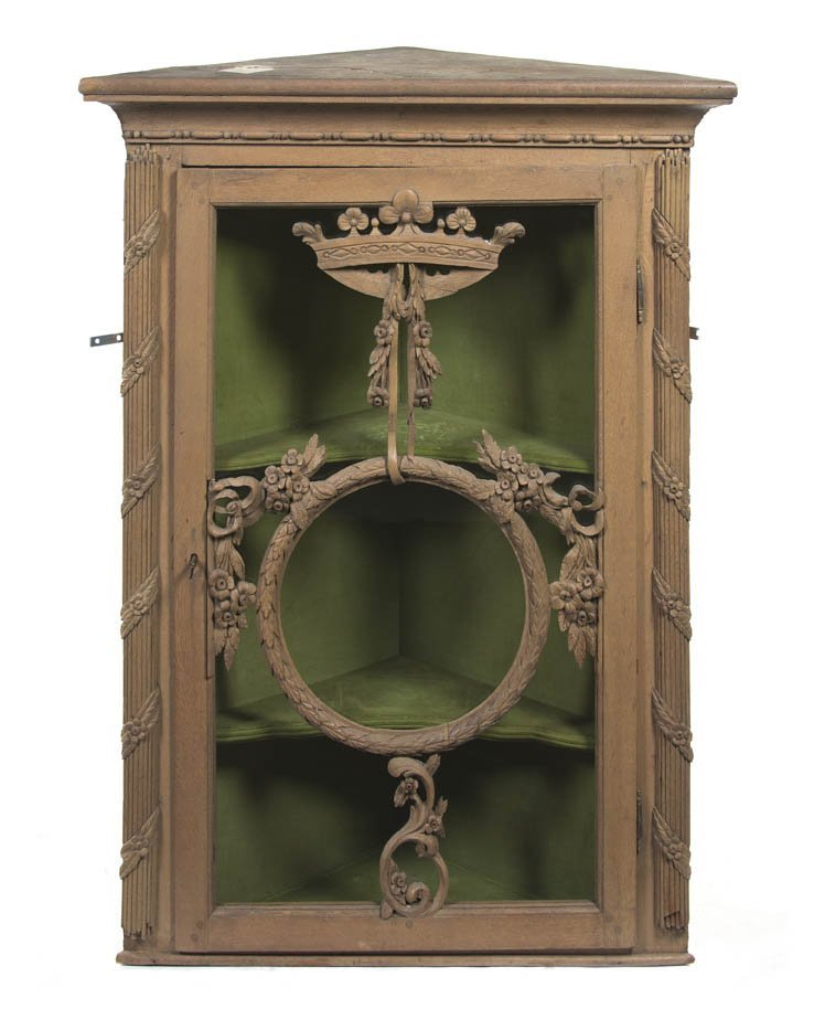 124: A Louis XVI Painted Corner Cabinet, Height 44 1/2