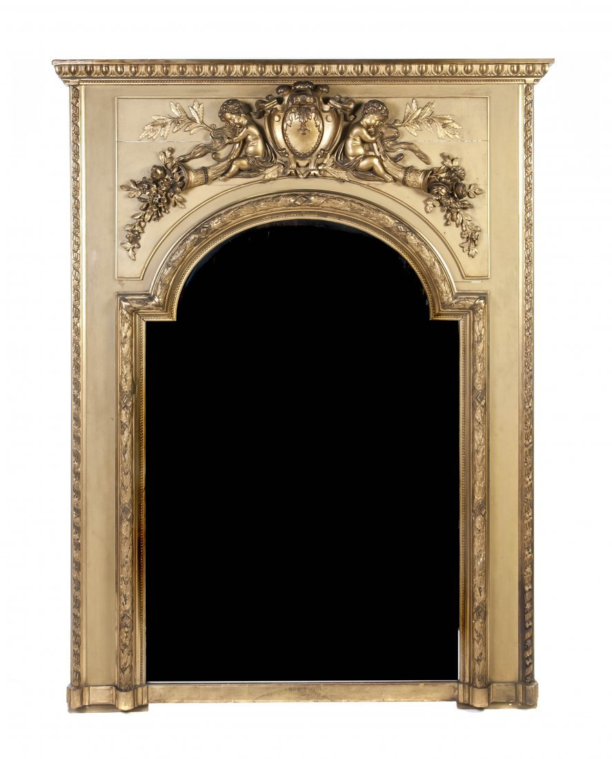 125: A French Giltwood Pier Mirror, Height 82 x width 6