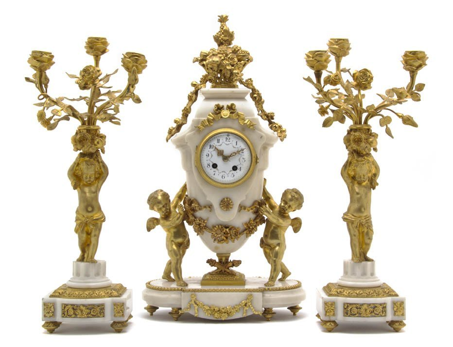 128: An Assembled French Gilt Bronze and Marble Clock G