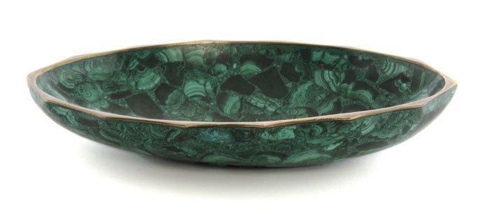 130: A Malachite Veneered Bronze Bowl, Width 10 5/8 inc