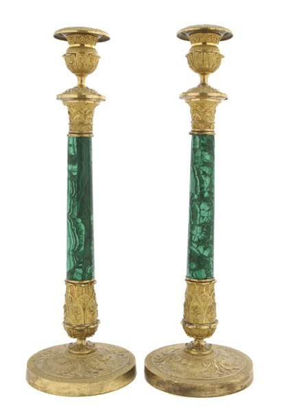 131: A Pair of Continental Malachite and Gilt Bronze Ca