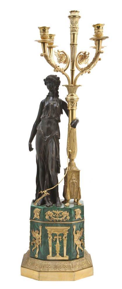 132: An Empire Patinated, Gilt Bronze and Malachite Ven