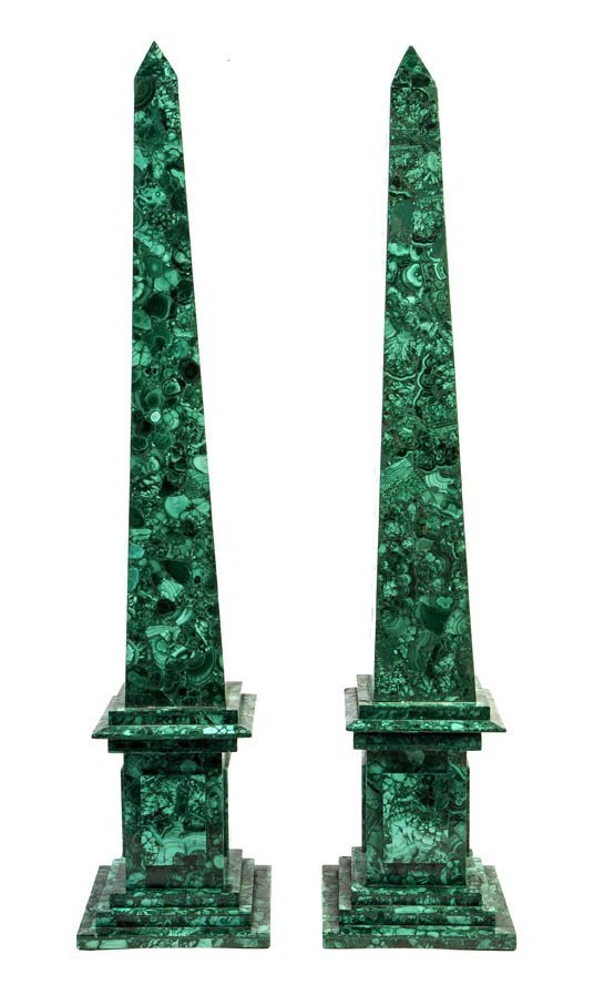 133: A Pair of Malachite Veneered Obelisks, Height 29 3